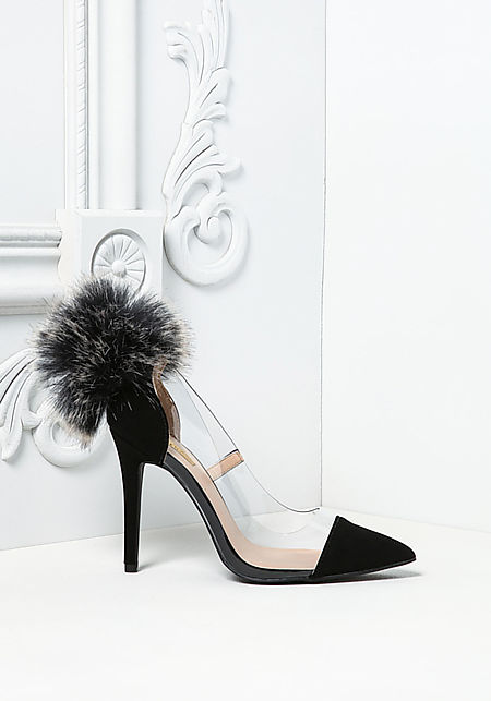 Black Perspex Pom Pom Pointed Toe Heels