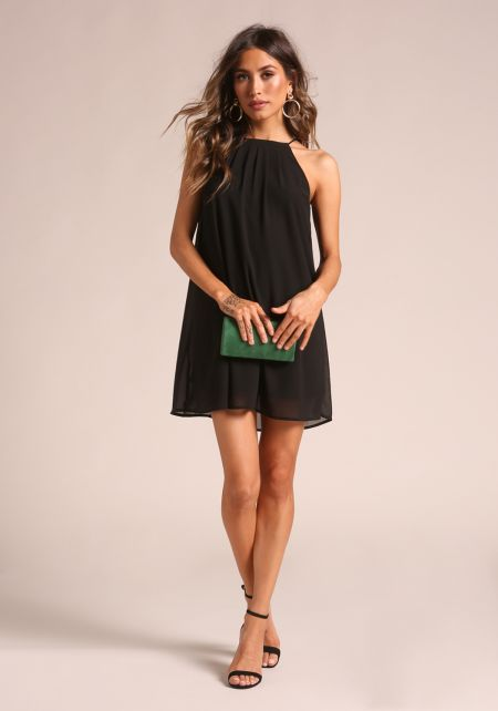 Black Chiffon Shift Dress