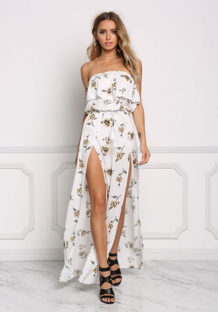 Ivory Floral Crepe Two Slit Maxi Skirt