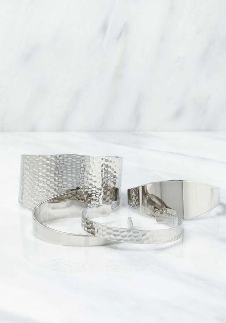 Silver Textured Thick & Thin Cuff Bracelet Set
