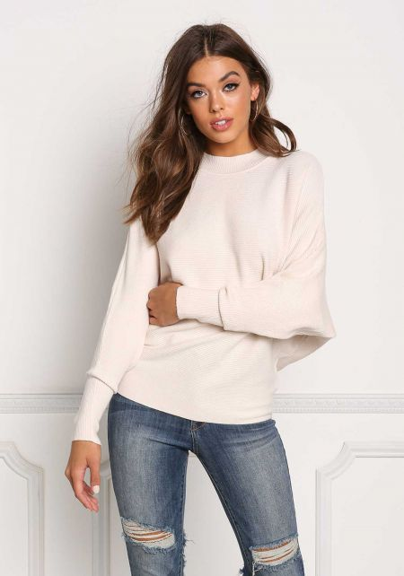 Cream Ribbed Knit Dolman Sweater Top