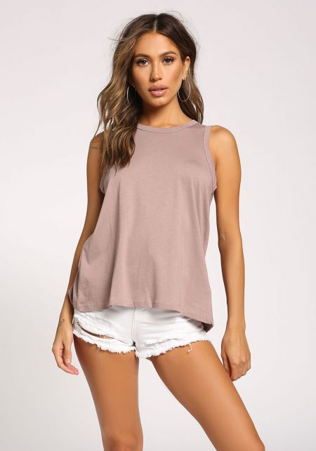 Mauve Back Slit Tank Top