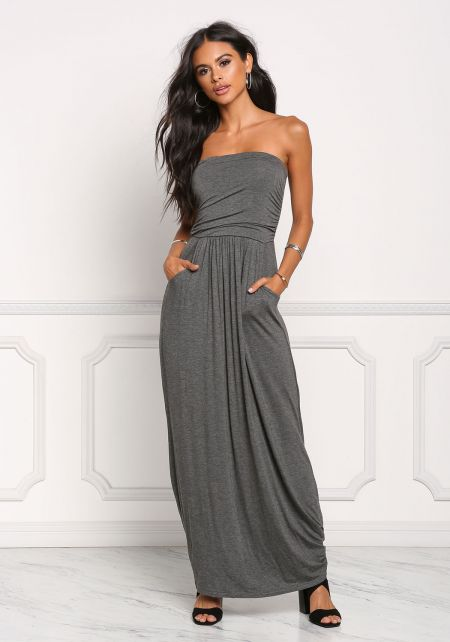 Charcoal Strapless Ruched Pocket Maxi Dress