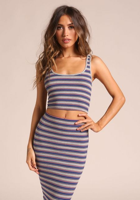 Grey Stripe Crop Top