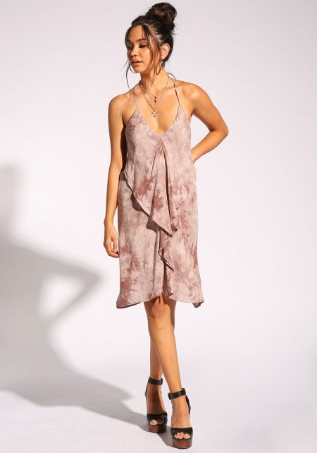 Mauve Tie Dye Layered Racer Dress