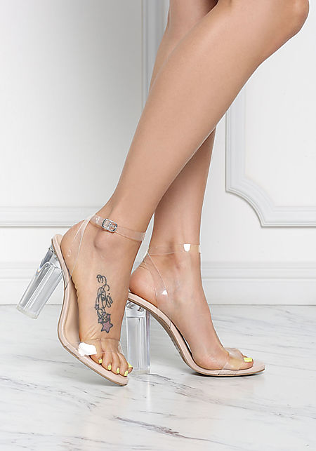 Nude Clear Ankle Strap Block Heels