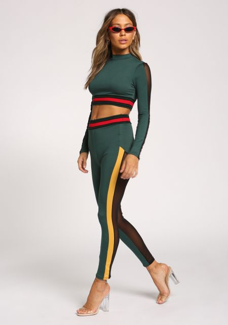 Hunter Green Color Block Mesh Panel Leggings