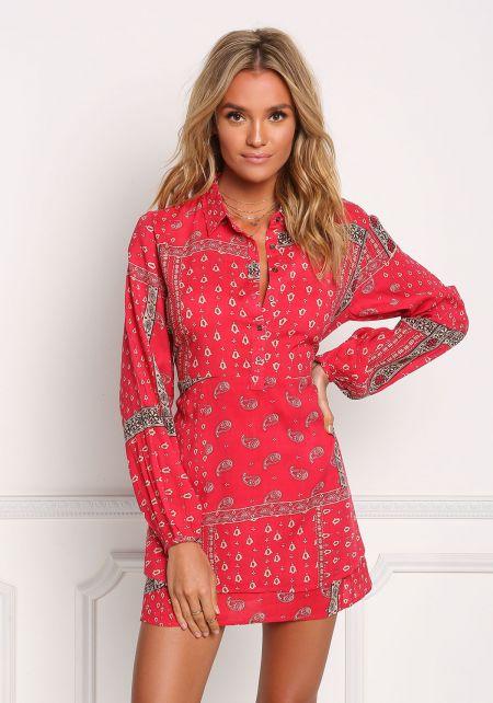 Red Paisley Layered Shift Dress