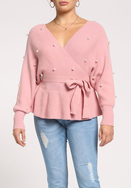 Dusty Pink Pearl Waist Tie Flared Sweater Top
