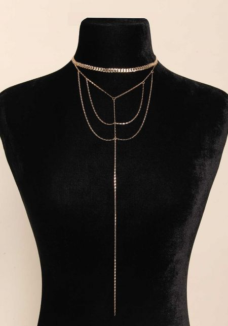 Gold Flat Chain Layered Drop Necklace