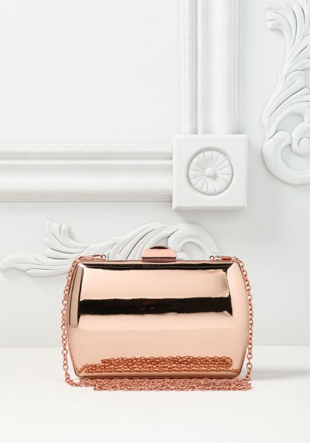 Rose Gold Chrome Rounded Clutch