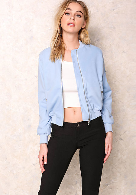 Junior Clothing Baby Blue Felt Bomber Jacket