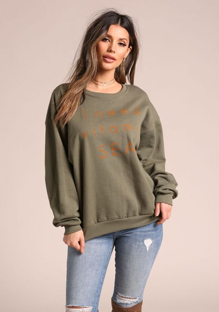 Olive Vitamin Sea Puff Sleeve Pullover Sweater