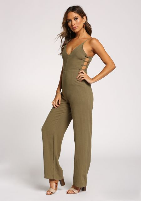 Olive Linen Side Caged Plunge Jumpsuit