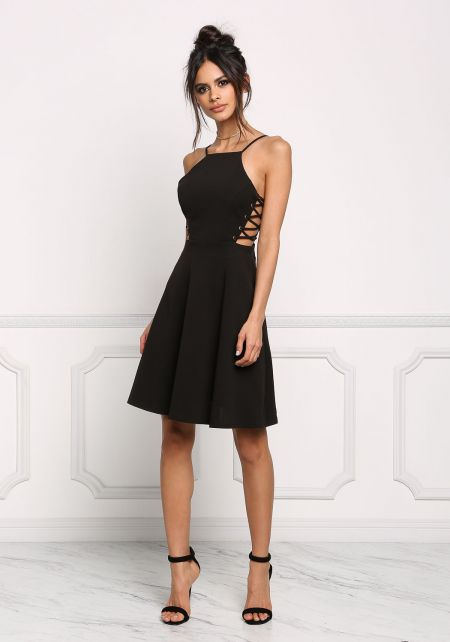 Black Side Lace Up Flared Dress
