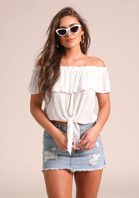 White Crepe Layered Tie Front Crop Top