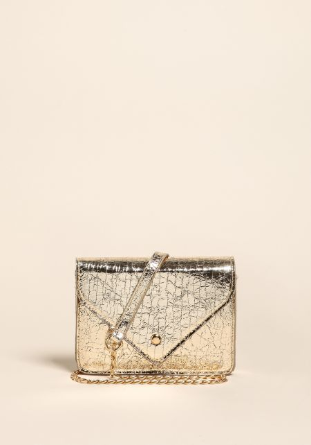 Gold Textured Metallic Envelope Crossbody Bag