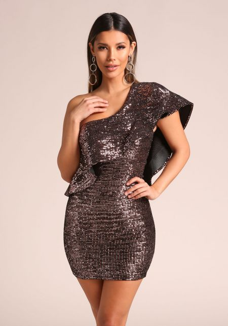 Rose Gold Sequin Ruffle One Shoulder Bodycon Dress