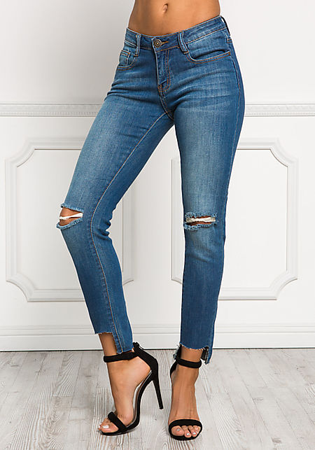 Denim Low Rise Knee Slit Skinny Jeans