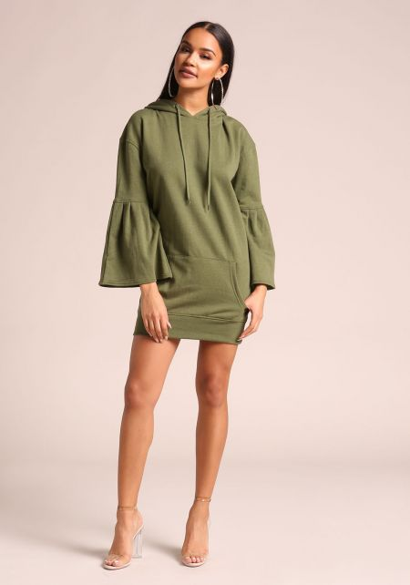 Light Olive Bell Sleeve Hooded Tunic Sweater