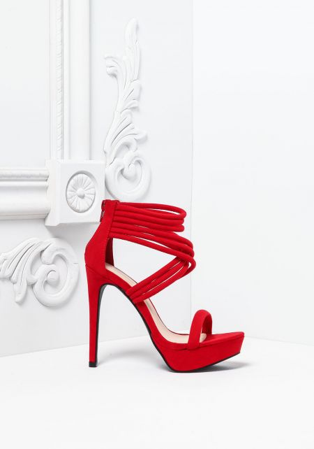 Red Suedette Multi Cross Strap Heels