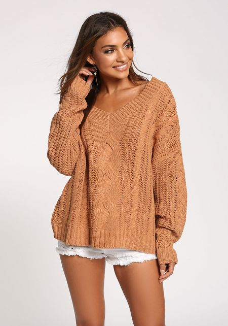 Apricot Cable Knit Puff Sleeve Sweater Top