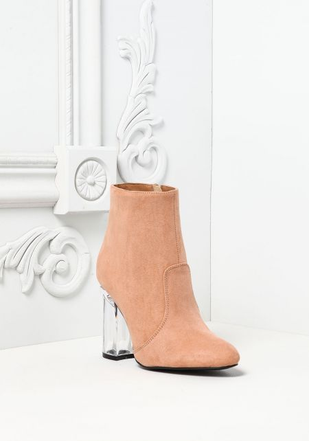 Blush Suedette Clear Heel Booties