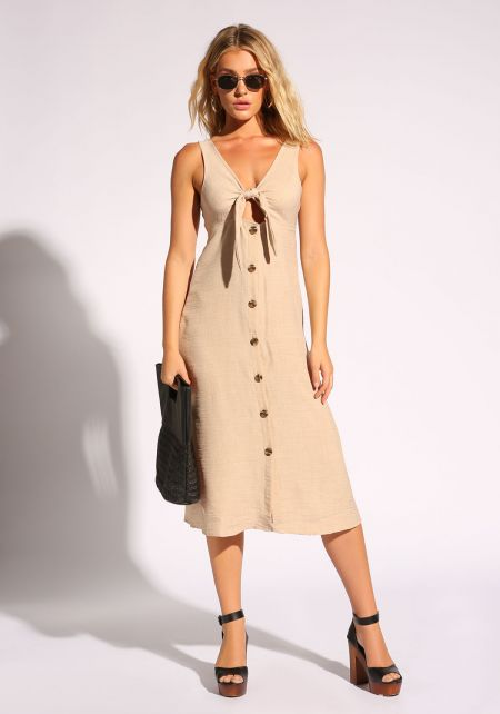 Natural Linen Tie Front Button Down Midi Dress