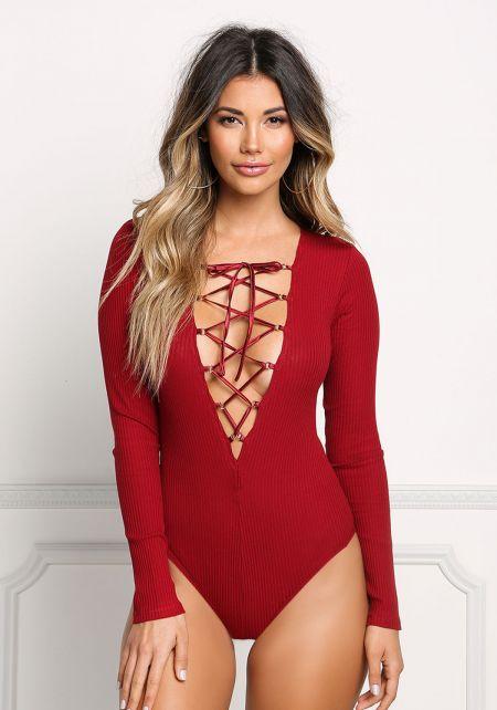 Red Low Cut Lace Up Bodysuit