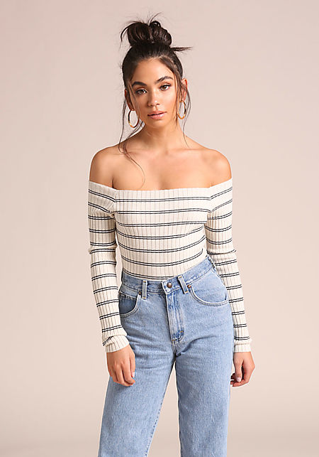Oatmeal Stripe Off Shoulder Top
