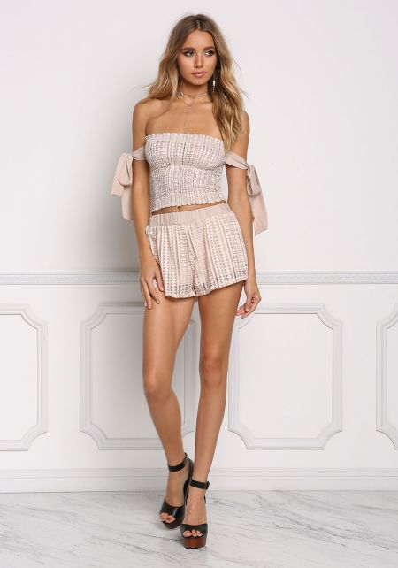 Blush Diamond Eyelet Shorts