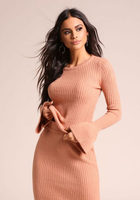 Salmon Ribbed Knit Bell Sleeve Sweater Top