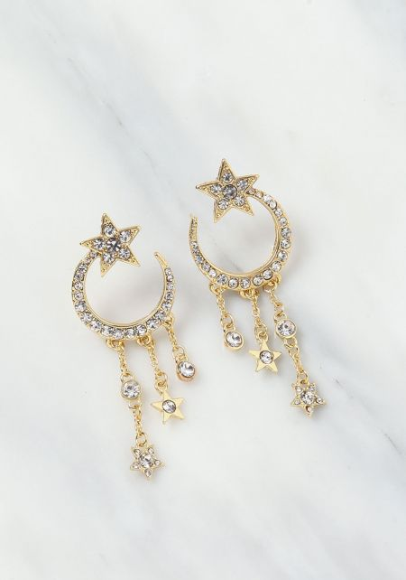 Gold Moon & Star Rhinestone Earrings
