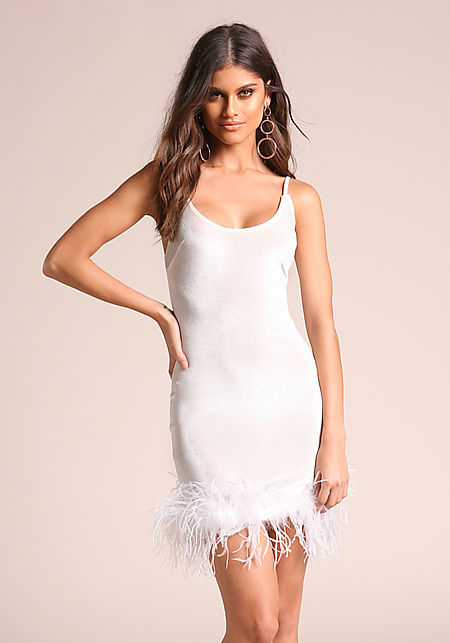 White Velvet Faux Feather Bodycon Dress