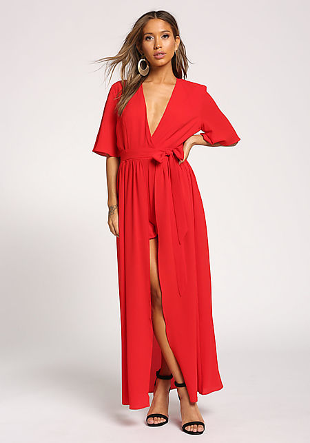 Red Pleated Plunge Maxi Romper