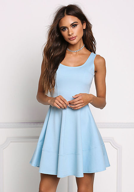 Sky Blue Fit & Flare Dress