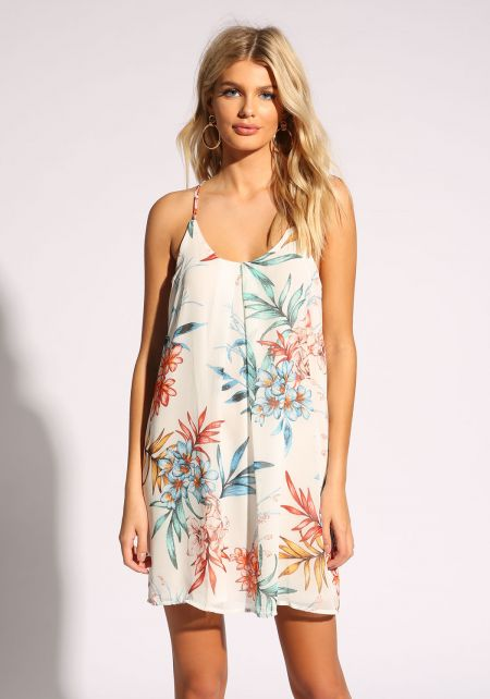 White Floral Racer Shift Dress