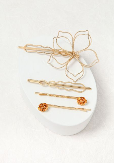 Gold Rose Assorted Hair Pin Set