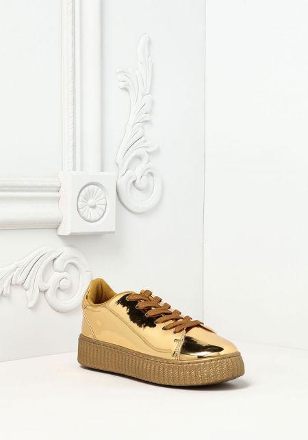 Gold Chrome Platform Sneakers
