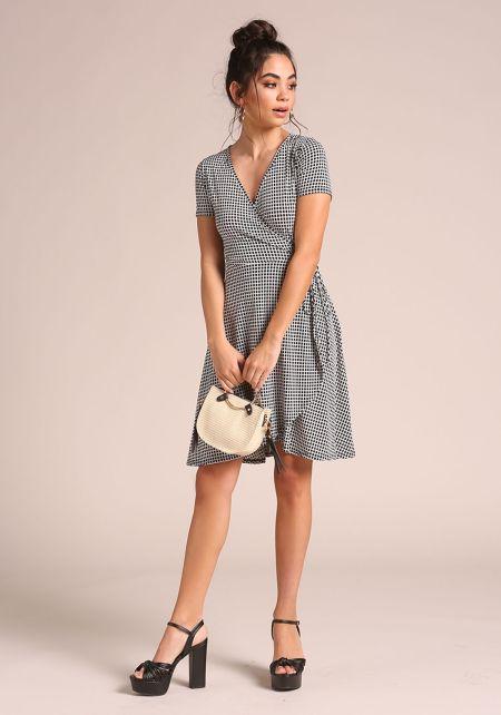 White and Black Grid Print Faux Wrap Dress