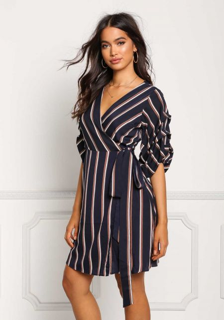 Navy Pinstripe Ruched Sleeve Wrap Dress