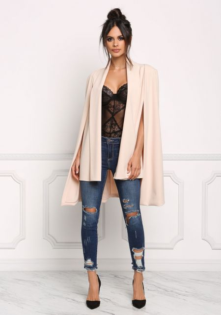 Blush Slit Hi-Lo Cape Blazer