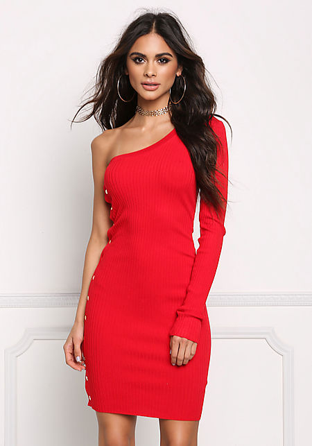 Red One Shoulder Button Trim Bodycon Dress