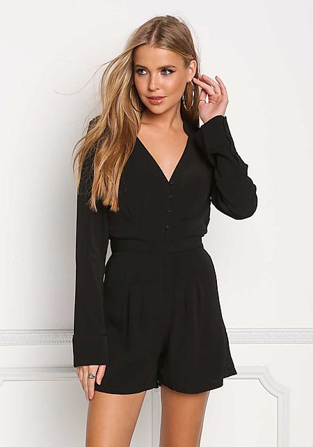 Black Sleek Button Down Deep V Romper