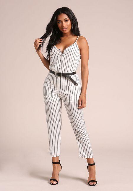 White Pinstripe Button Down Pocket Jumpsuit