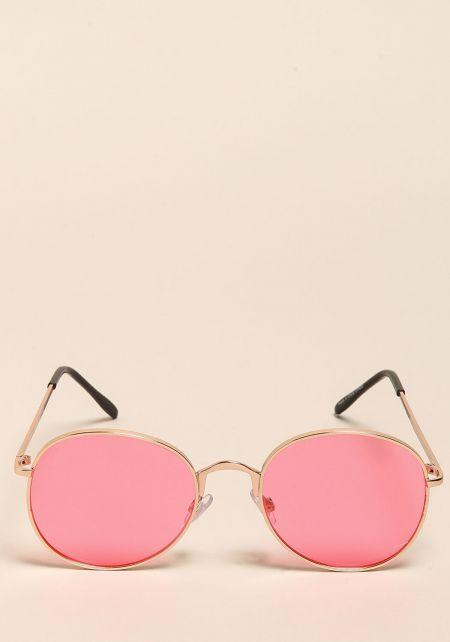 Pink Round Retro Sunglasses