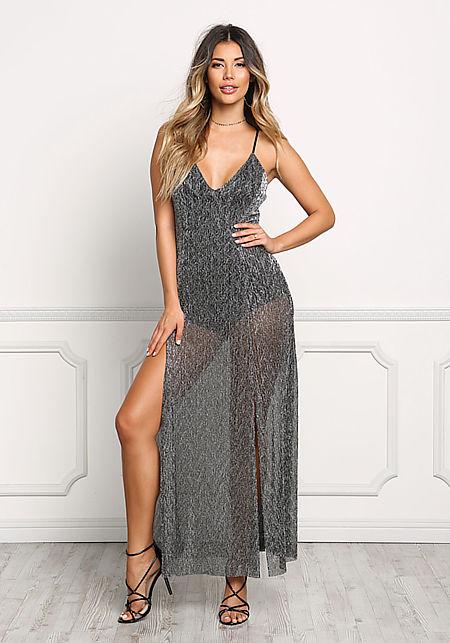 Black Metallic Crepe High Slit Maxi Dress