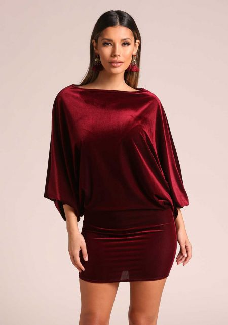 Wine Velvet Dolman Bodycon Dress