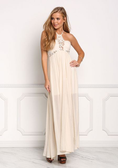 Cream Crepe Floral Crochet Multi Strap Maxi Dress