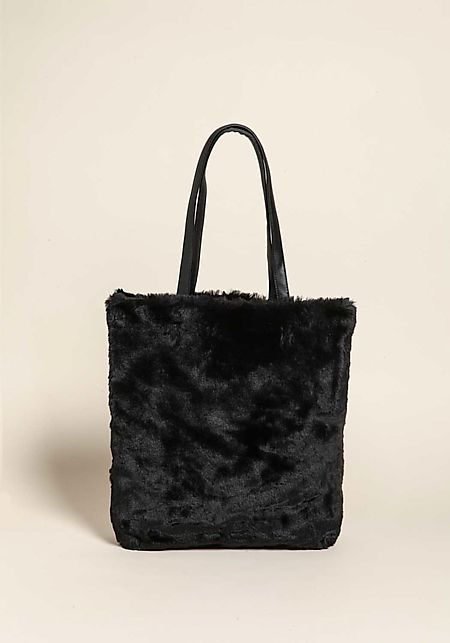 Black Large Faux Fur Tote Bag